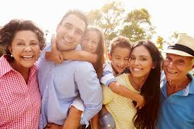 Hispanic family smiling in the United States